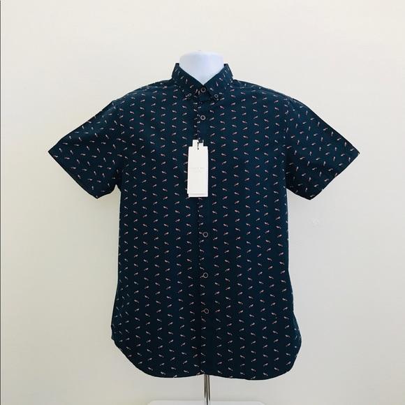 20ffd2c303 Cactus Man blue fox print button up shirt medium